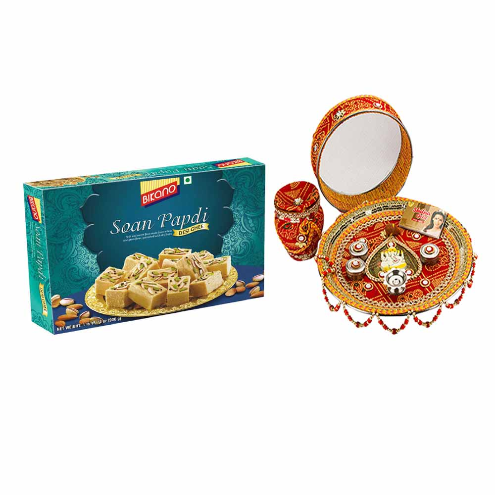 Other Diwali Gifts-Karva Chauth Thali with Bikano Soan Papdi