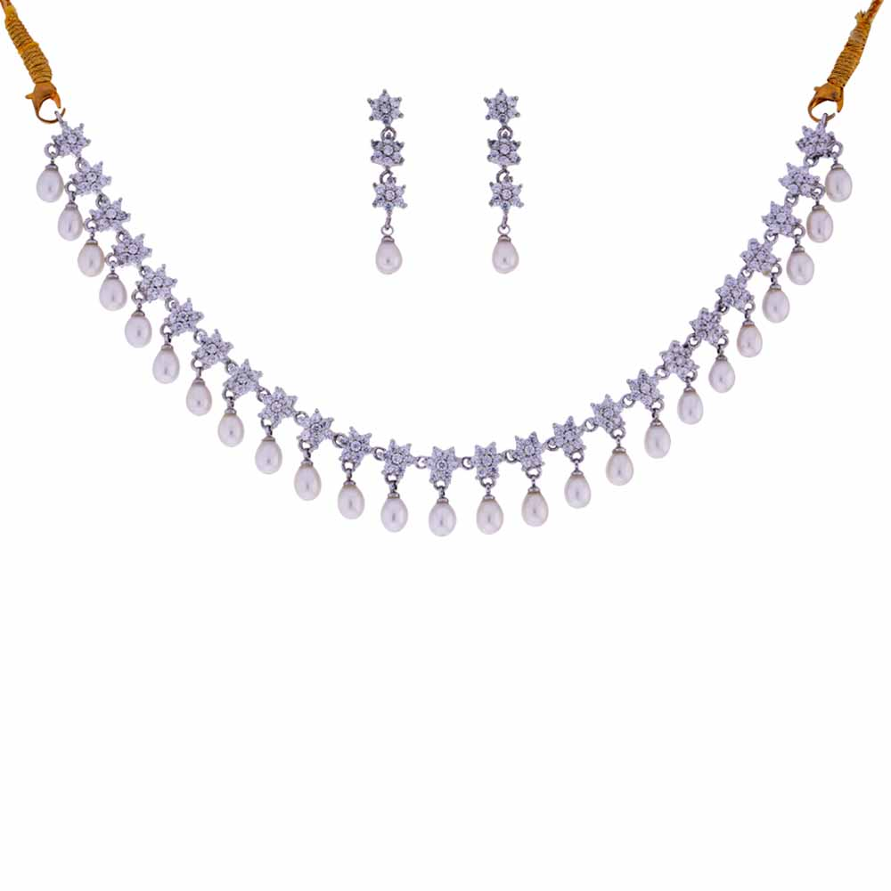 Cz Pearl Drop Necklace