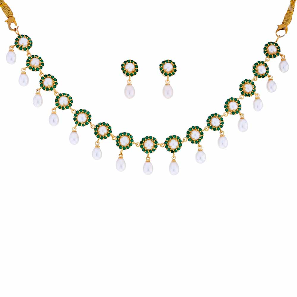 Jewelry-Emerald Stone Pearl Drop Necklace