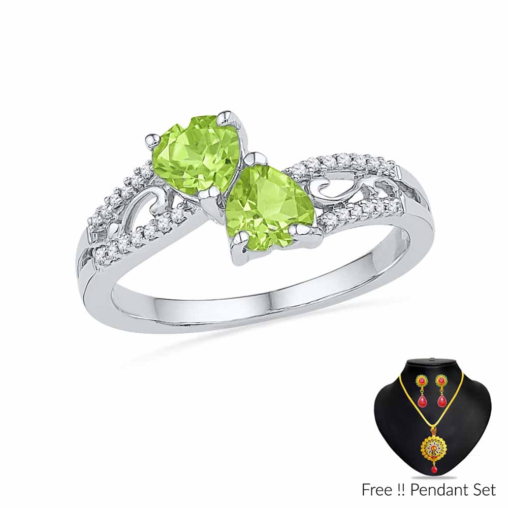 Peridot With Diamonds Finger Ring