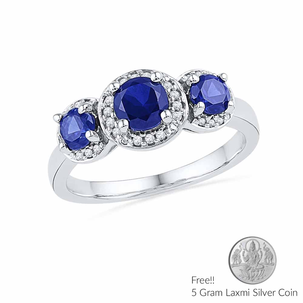 Jewelry-Blue Sapphire Diamond Ring