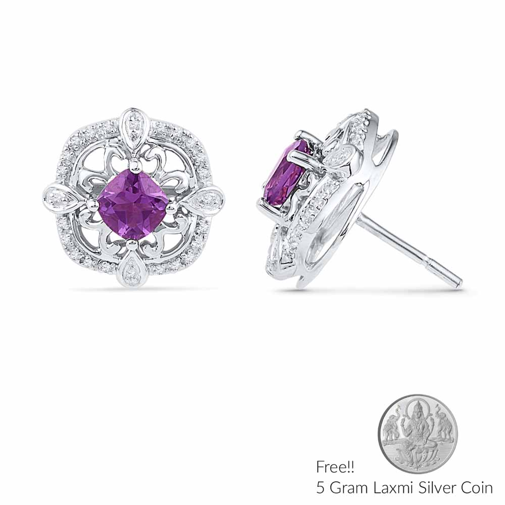 Amethyst With Sterling Silver Diamond Earrings