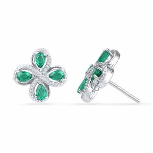 Jewelry-Emerald With Sterling Diamond Earrings