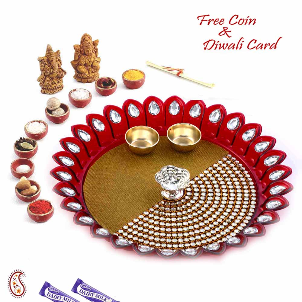 Kundan Studded Red & Gold Pooja Thali