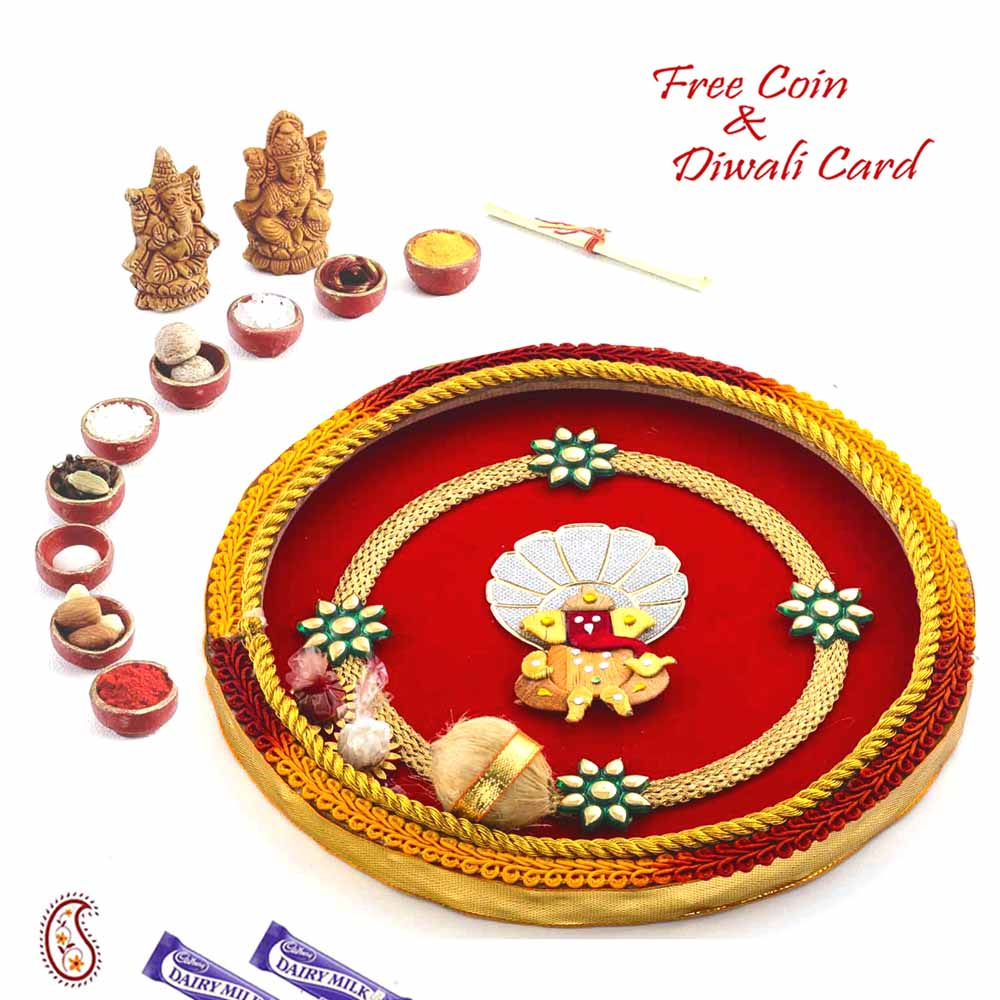 Red Base Ganesha Motif Pooja Thali
