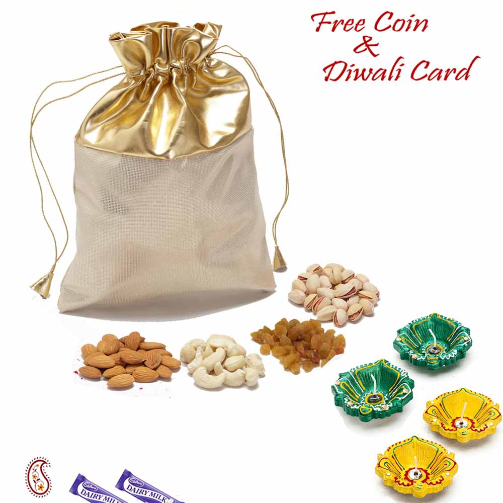 Golden Leatherite Dry fruit pouch