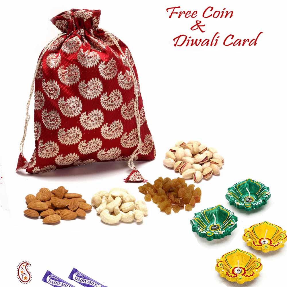 Dryfruits-Brocade Silk Dry fruit Pouch