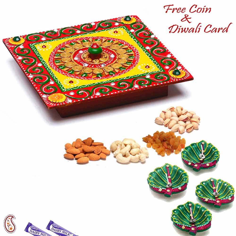 Diwali Dryfruits-Square Designer Box with Dryfruits