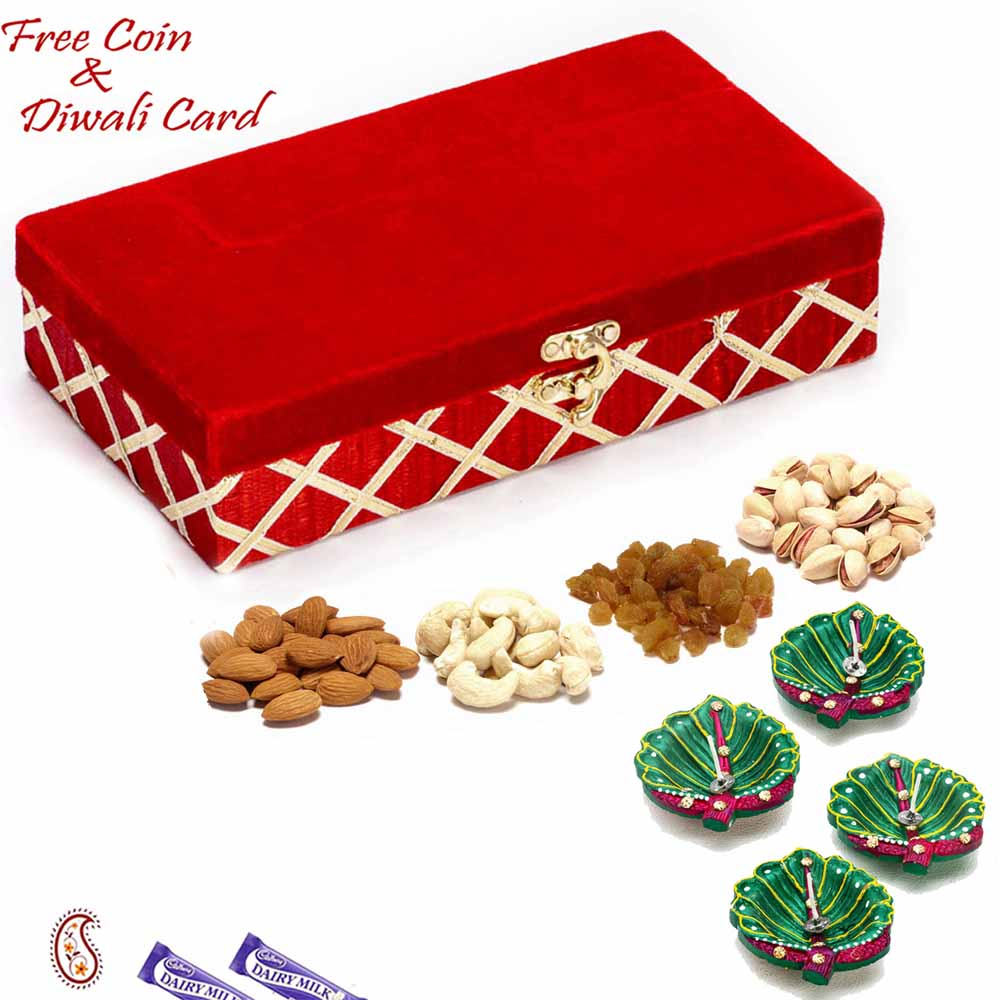 Diwali Dryfruits-Red Rectangular Dryfruit Box for Festive Season