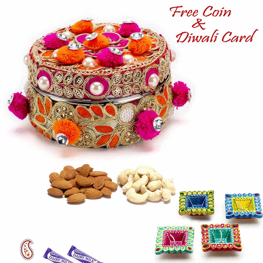 Diwali Dryfruits-Red & Orange Cotton Balls Dryfruit Box
