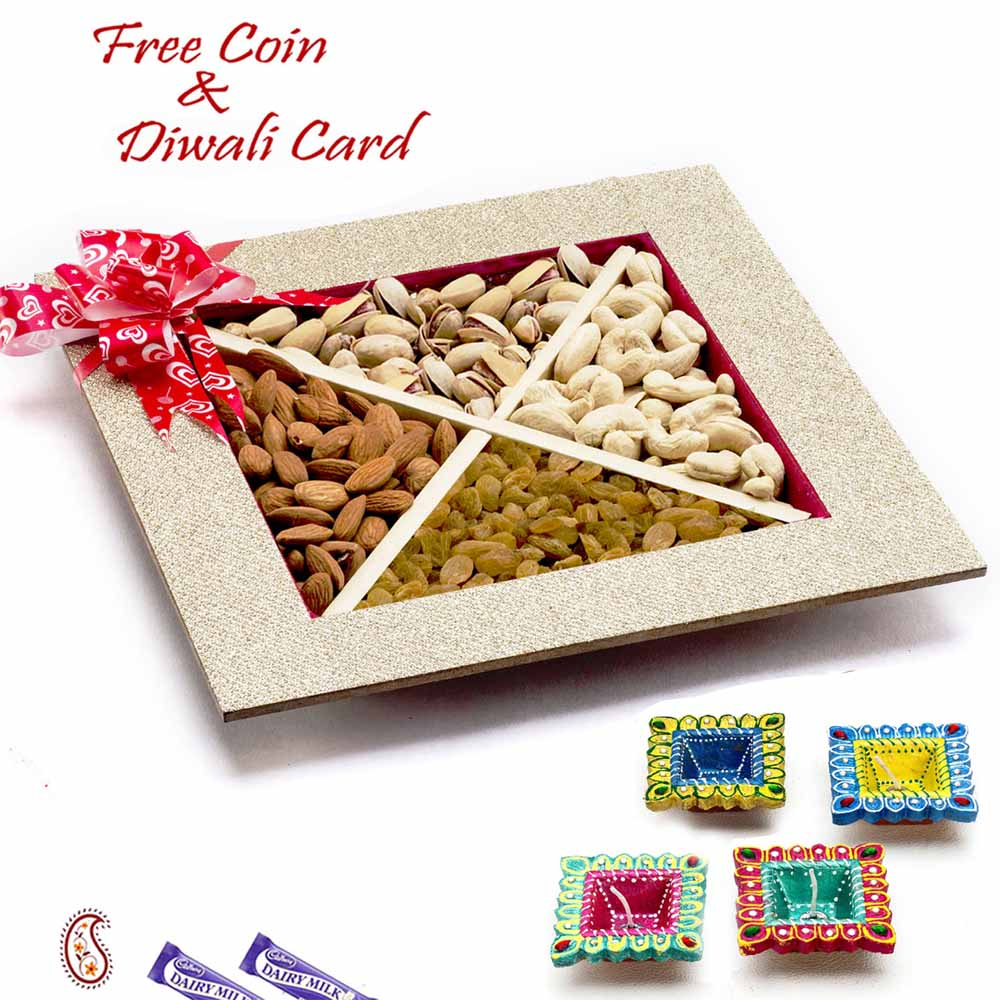Diwali Dryfruits-Square Dryfruit Box for Festive Season