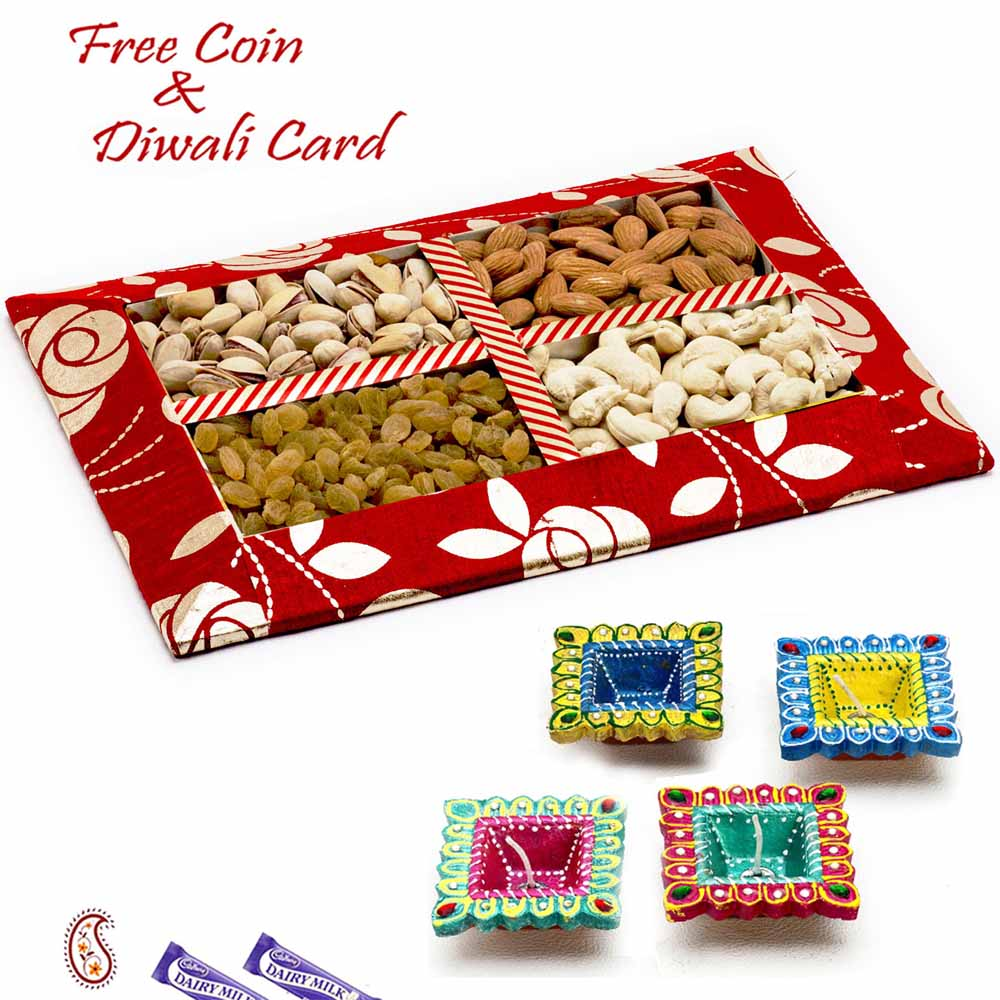 Red Floral Design Dryfruit Gift Pack