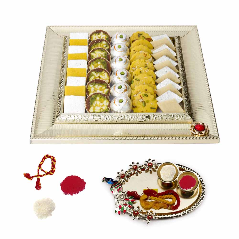 Bikanervala Bhai Dooj Thali n Exotic Sweets Hamper for 2 brothers
