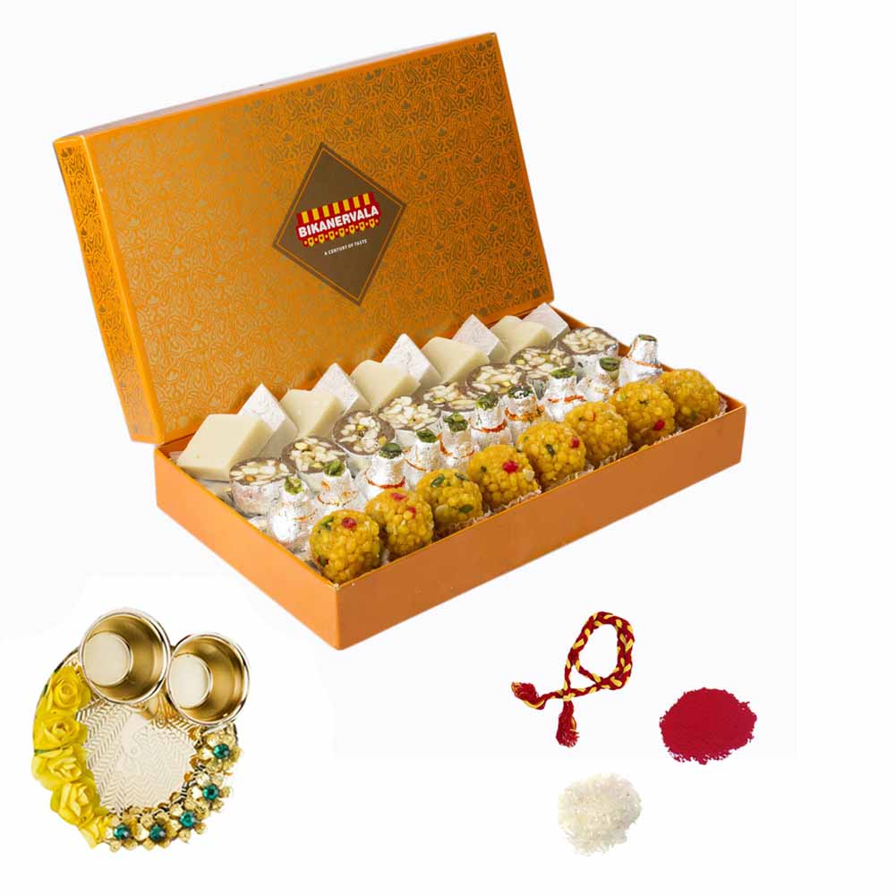 Bhai Dooj Gifts-Bikanervala Rustic Sweets Combo with Bhai Dooj Thali for 2 brothers