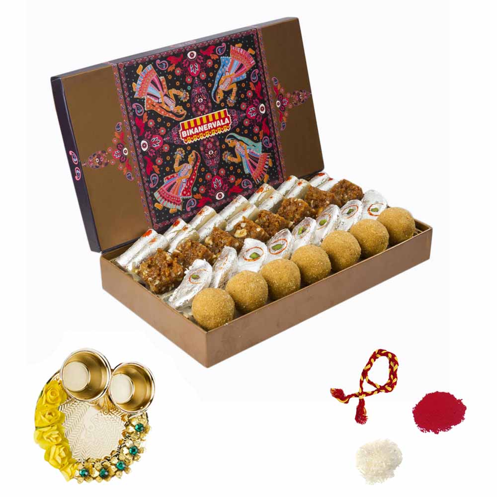 View Bikanervala Tradition of Sweets Combo with Bhai Dooj Thali for 2 brothers