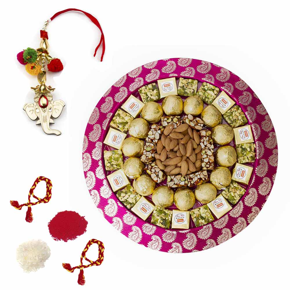 Bhai Dooj Gifts-Bikanervala Nuts Mania tray with Bhai Dooj for 2 brothers