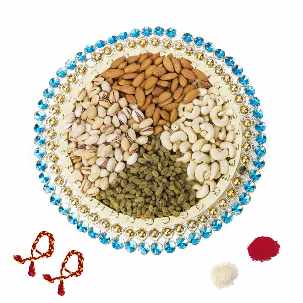 Stones n Beads Bhai Dooj Dry fruit tray for 2 brothers