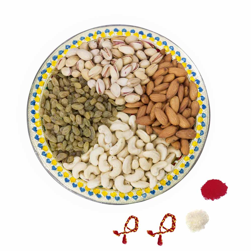 Bhai Dooj Gifts-Traditional Bhai Dooj Dry fruit tray for 2 brothers