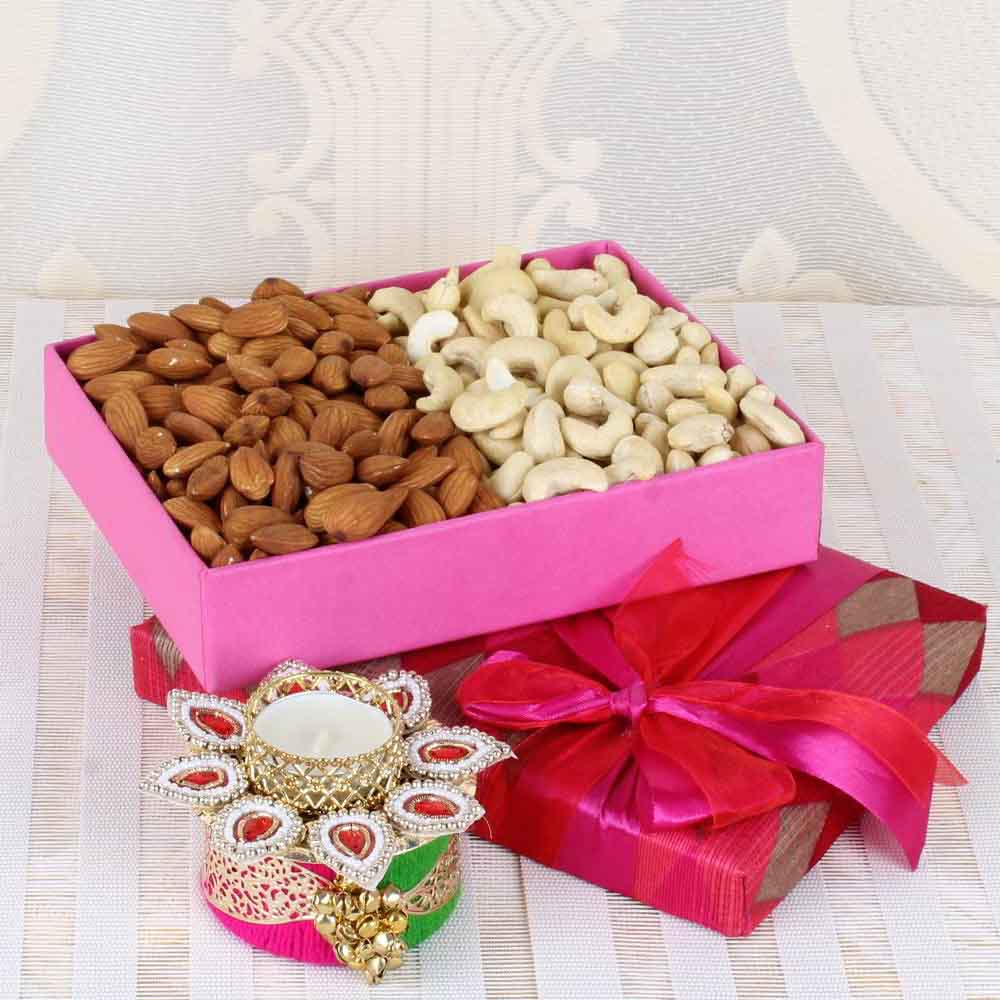Diwali Diyas-Almond and Cashew with Traditional Diya