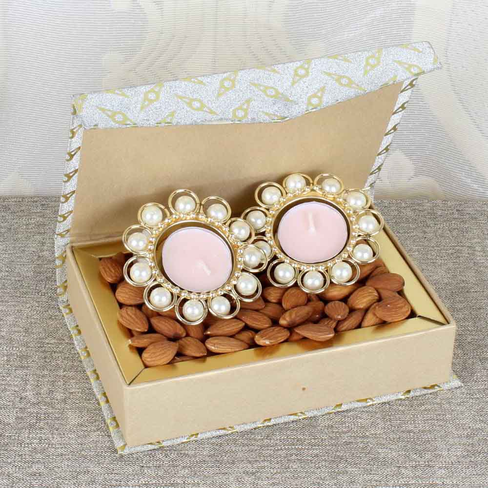 Diwali Diyas-Pearl Metal Diya with Almond Box