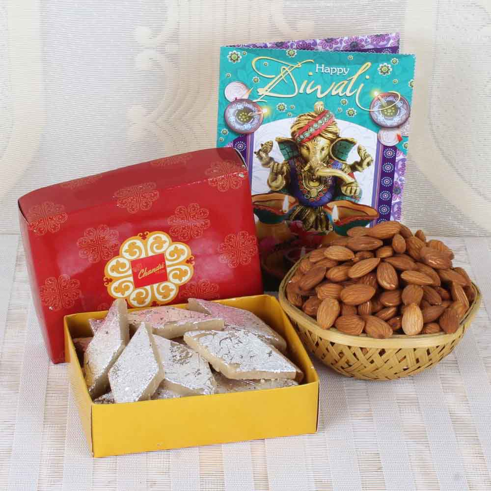 Diwali Mithai Boxes-Almond with Kaju Katli and Diwali Card