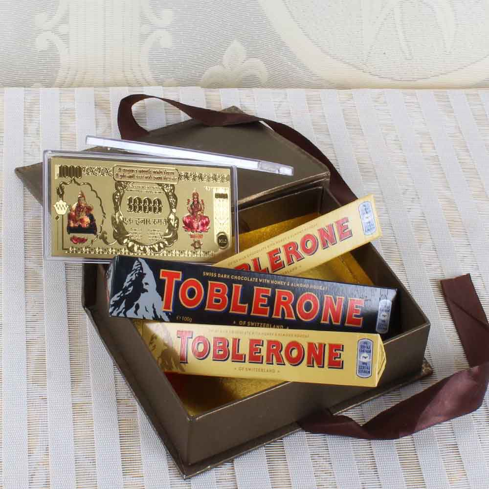 Chocolate & Cookies-Toblerone Chocolate with Gold Plated Note