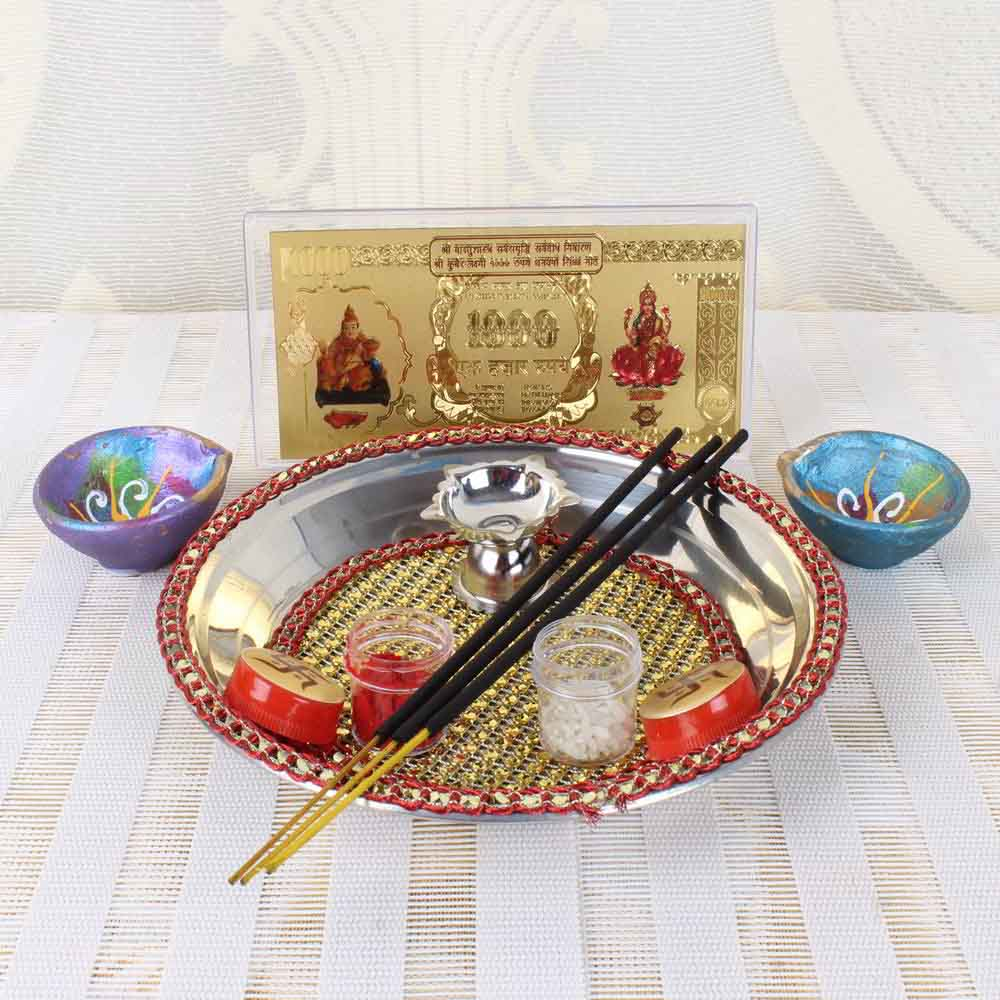 Diwali Pooja Thali with Kuber Lakshmi Note and Diya