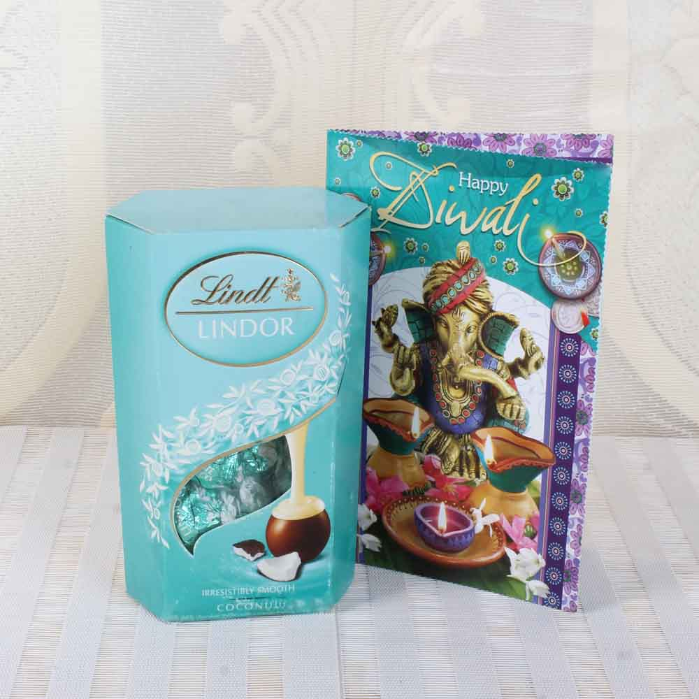 Chocolate & Cookies-Lindt Lindor Coconut Chocolate with Diwali Greeting Card