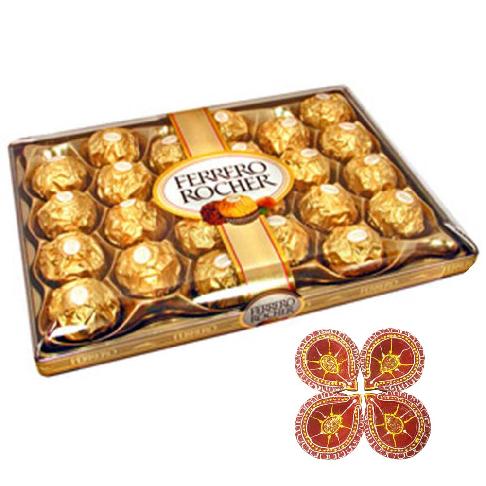 Chocolate & Cookies-Rocher with red designer diya