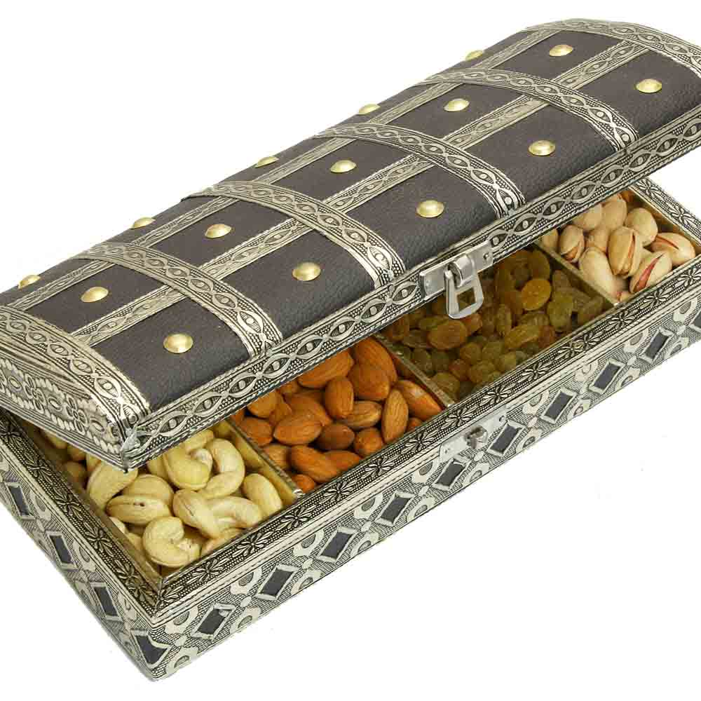 Diwali Dryfruits-Diwali Dryfruits-Black Leather Finish Trunk Minakari Dryfruit Box B-22