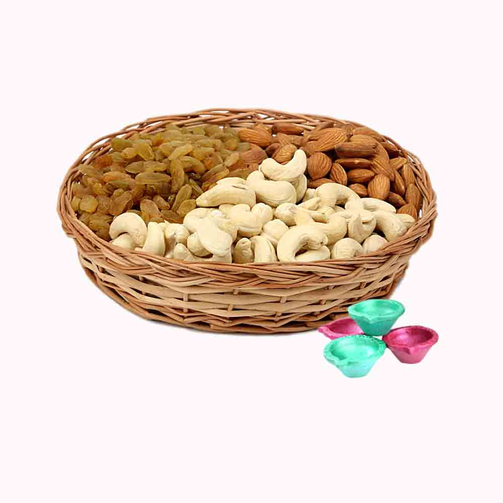 Diwali Dryfruits-Mix Dry Fruits Basket & Diya - Diwali Gifts