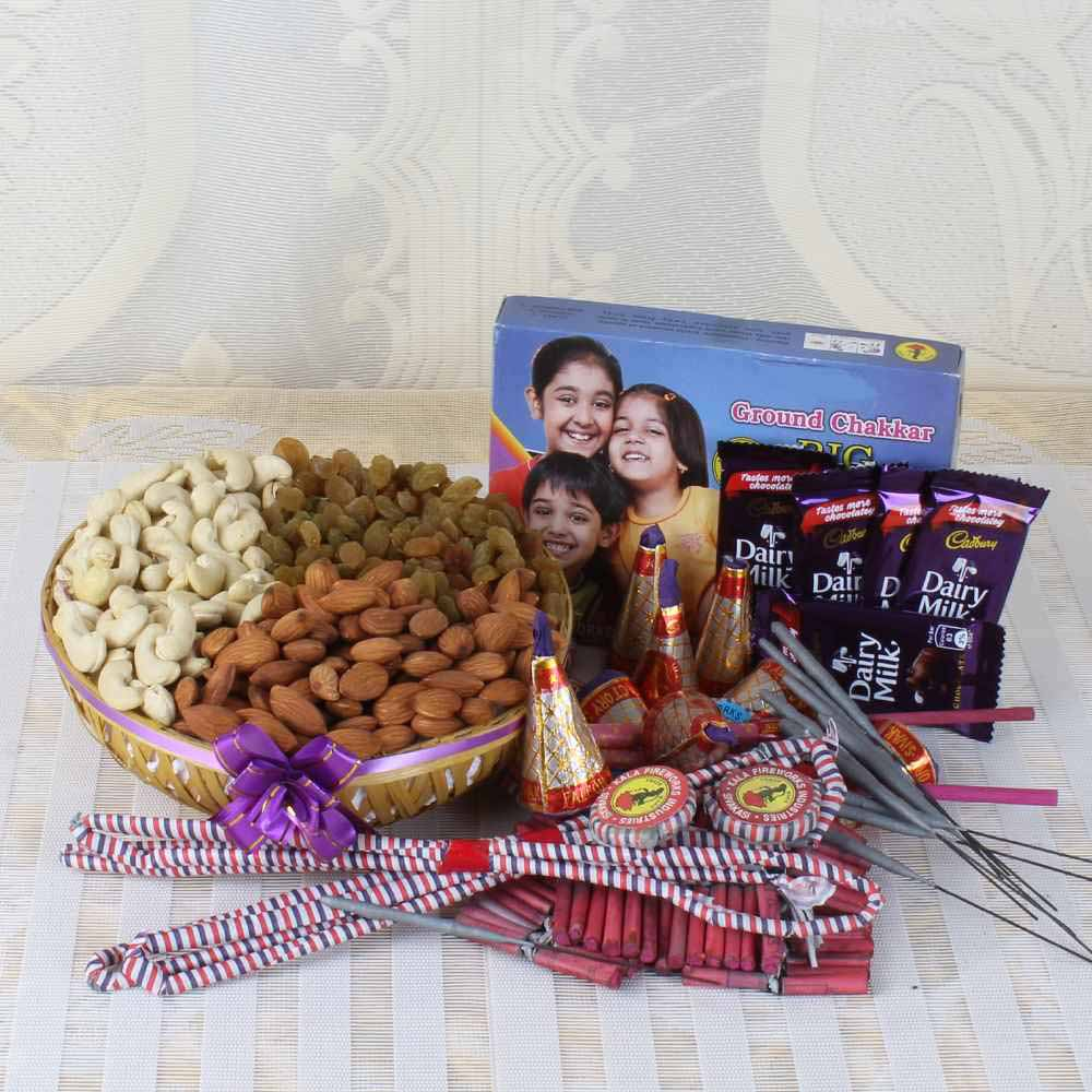 Crackers & More..-Dry fruit Basket with Dairy Milk Chocolates and Diwali Crackers