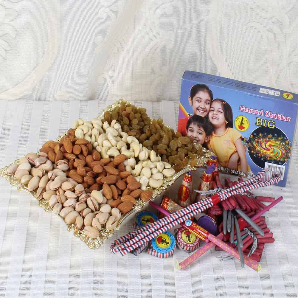 Crackers & More..-One Kg Mix Dry fruit Tray with Diwali Crackers