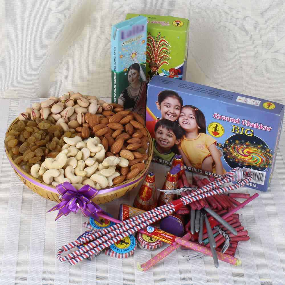 Crackers & More..-Assorted Dry fruit Basket with Diwali Crackers