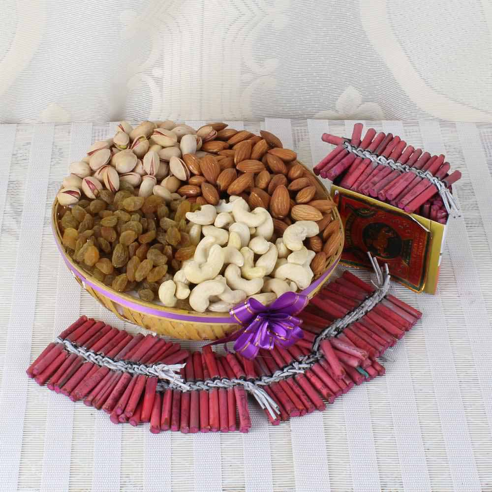 Crackers & More..-Assorted Dry fruit Basket with Red color Diwali Fire Crackers