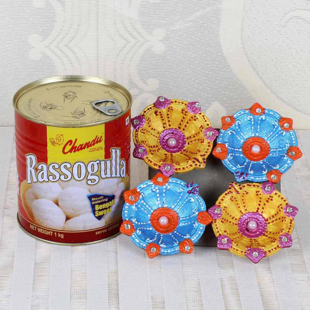 Flowers and Mithai-Rasgulla Sweets with Earthen Diya Set