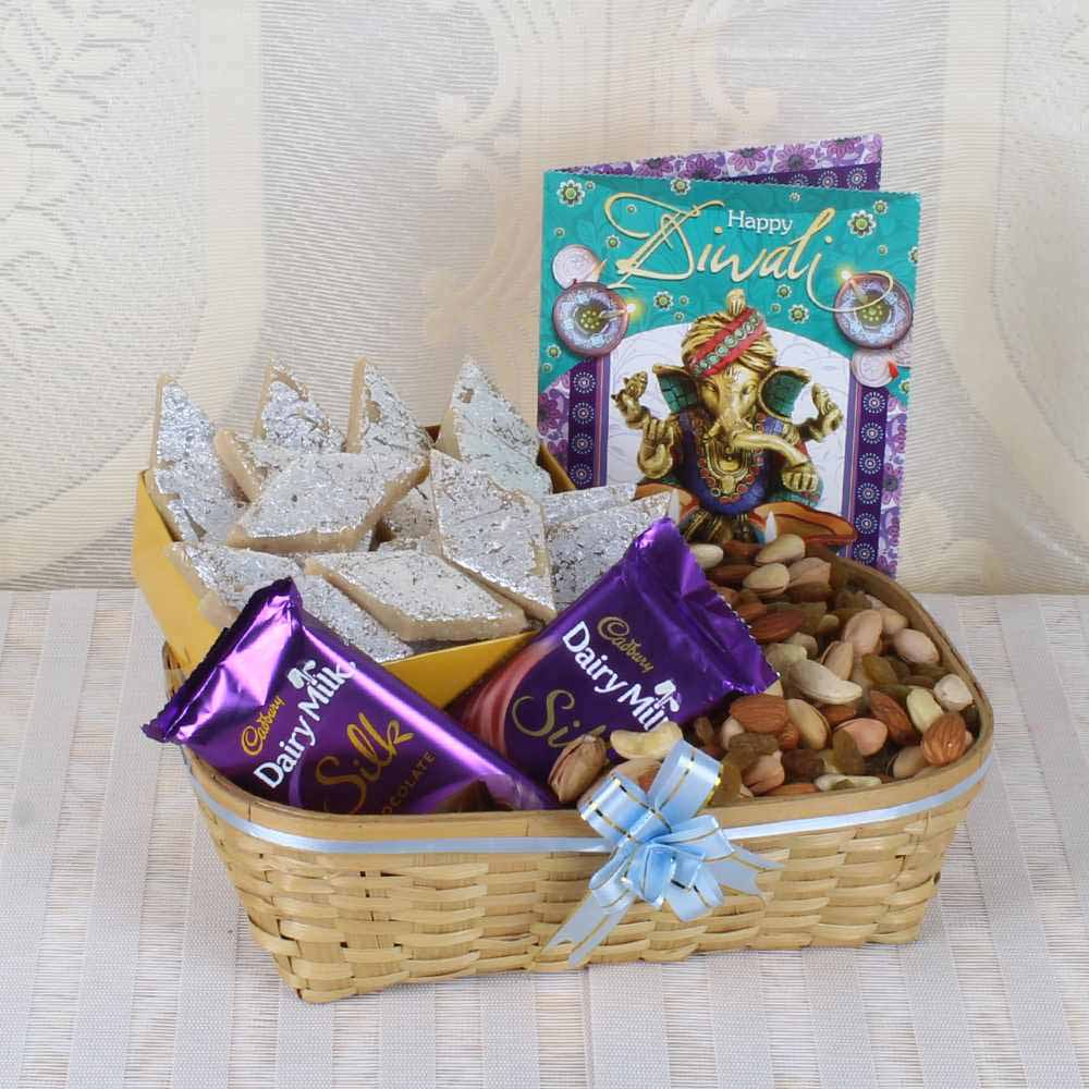 Diwali Wishes Hamper for Family of Assorted Dry Fruit Basket with Kaju Katli Sweet and Silk Chocolate