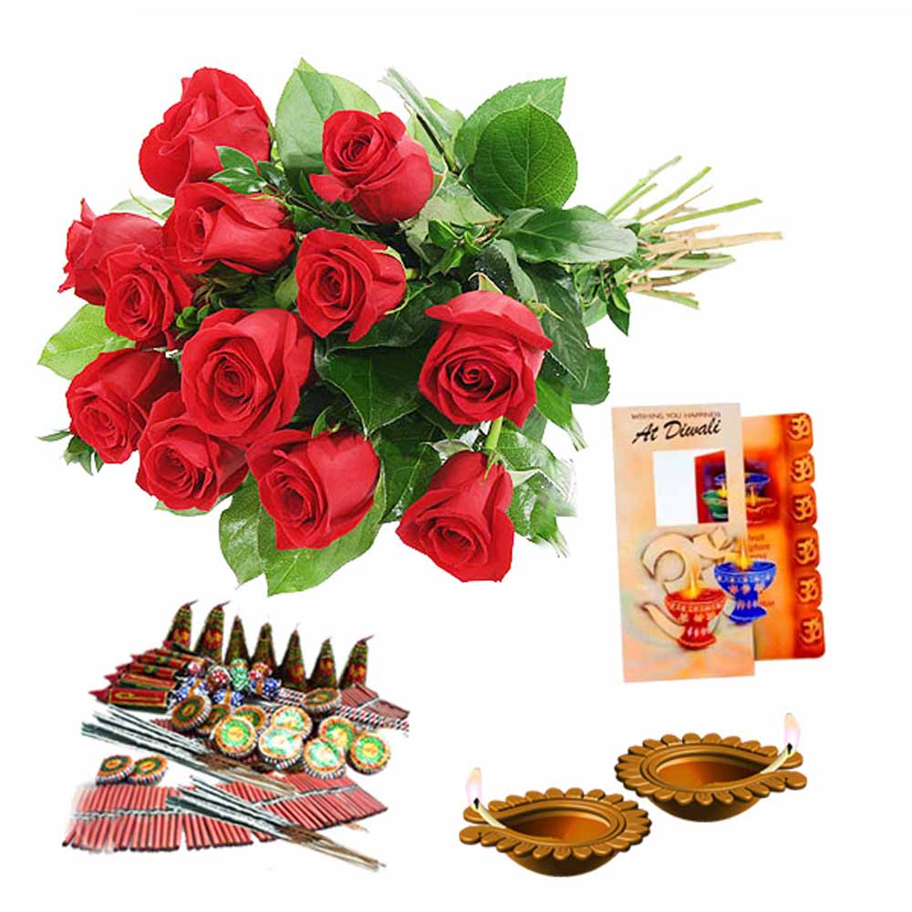 Crackers & More..-Diwali Diya and Crackers with Red Roses Bouquet