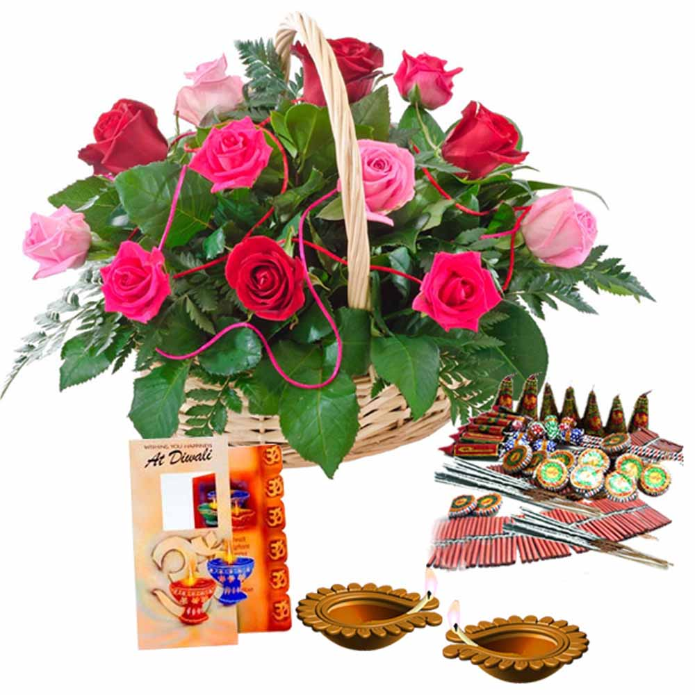 Crackers & More..-Diwali Greeting Card (Worth Rs 50/-)and Crackers with Basket of Roses