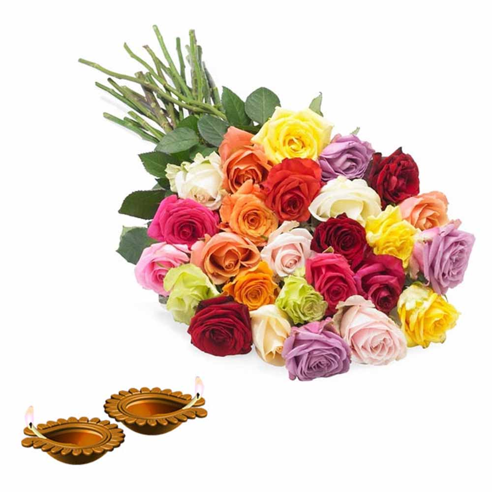 Flowers with Chocolates-Dipawali Diya and Lovely Roses Bunch