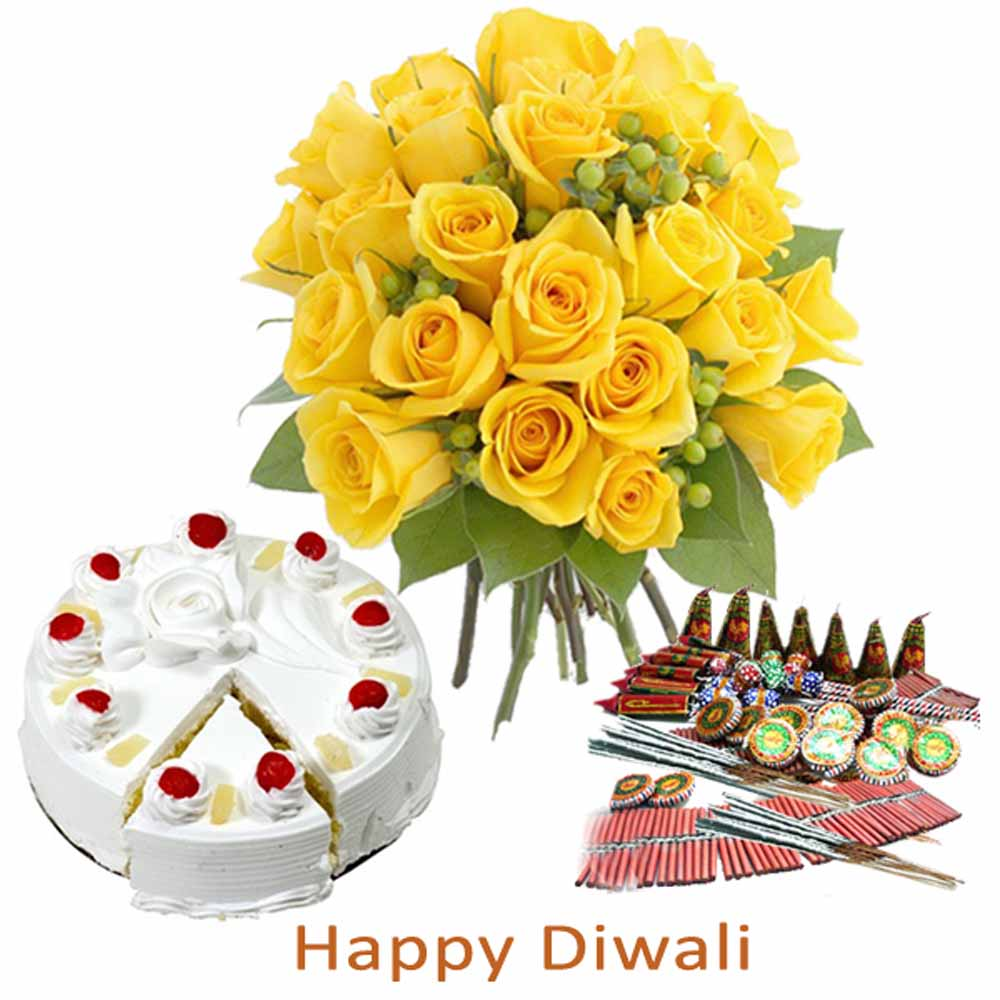 Crackers & More..-Diwali Firecracker with Pineapple Cake and Yellow Roses