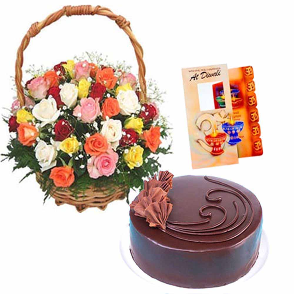 Flowers & Cakes-Basket of Roses with Chocolate Cake and Card
