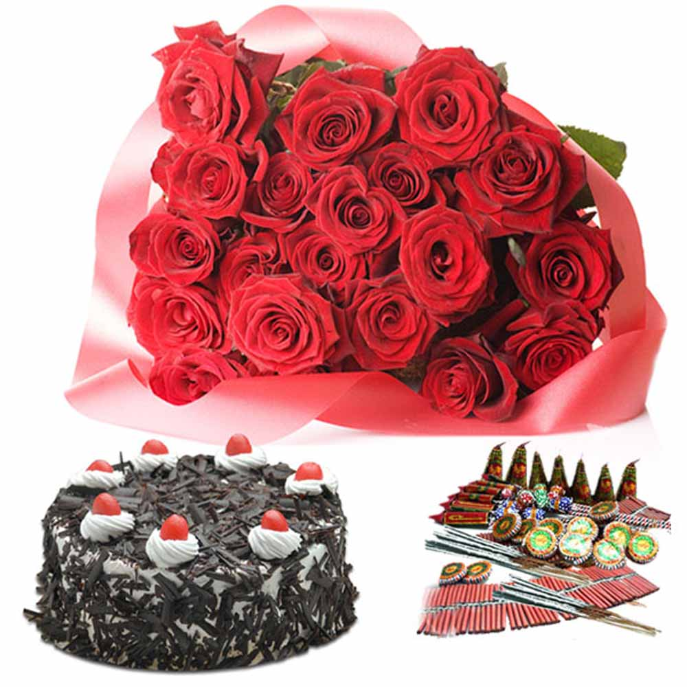 Crackers & More..-Diwali Hamper of Roses and Cake with Crackers