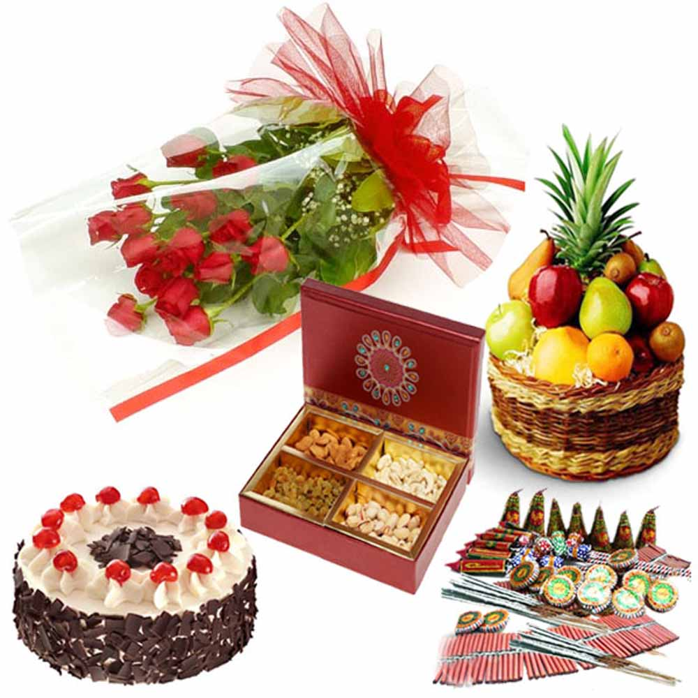 Crackers & More..-Roses Cake Fresh Fruits Dry Fruits and Diwali Cracker Combo