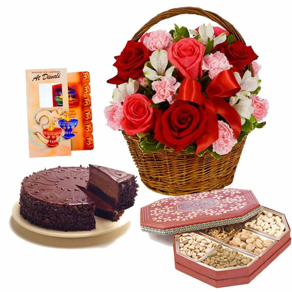 Diwali Gift of Flowers with Cake and Dry Fruits