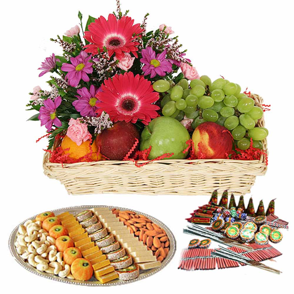 Diwali Crackers and Fresh Fruit with Flowers Combo