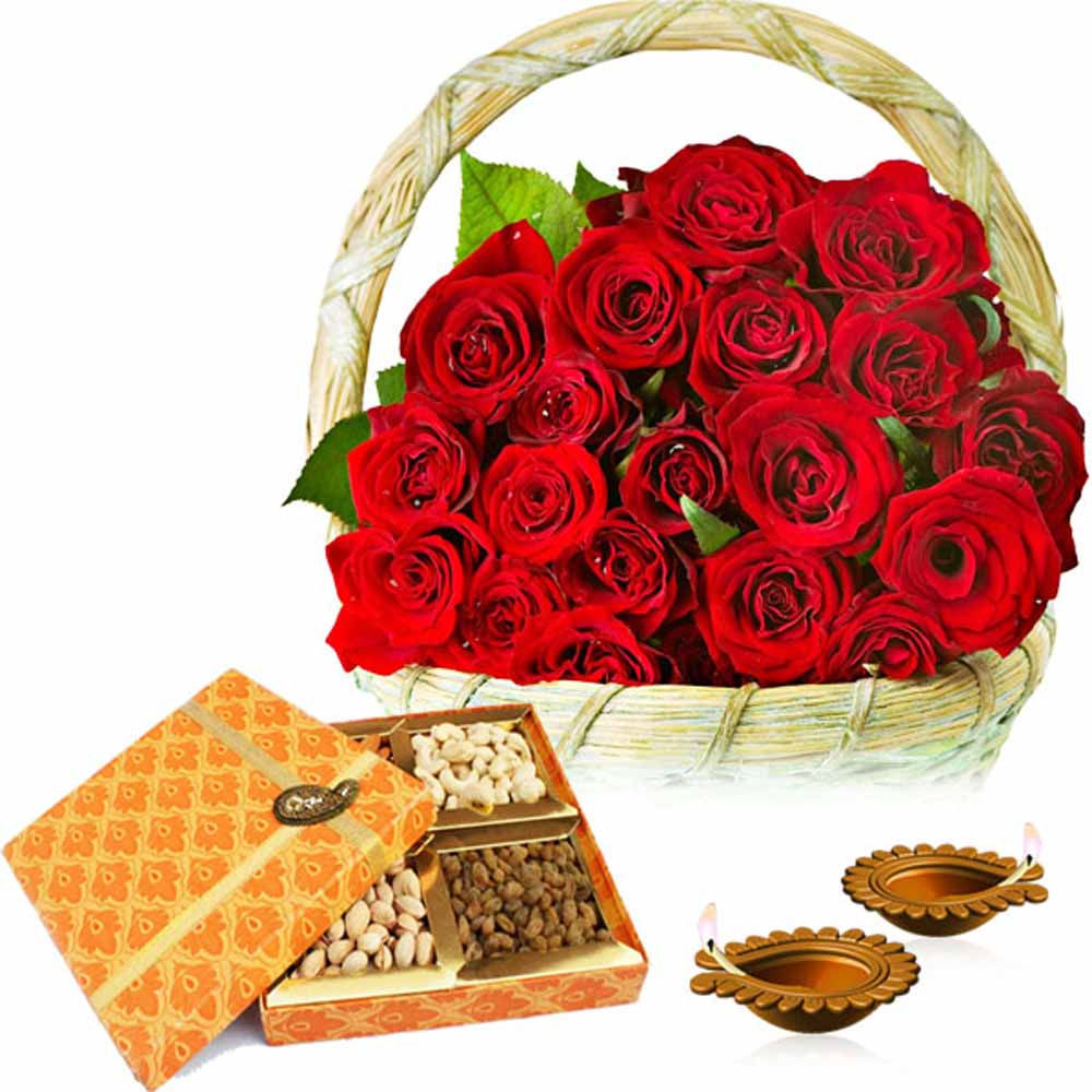 Diwali Diya with Basket of Roses and Dry fruits