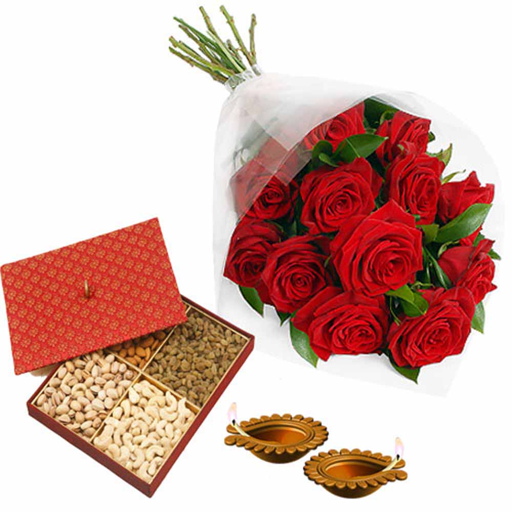 Flowers with Chocolates-Romantic Diwali Gift