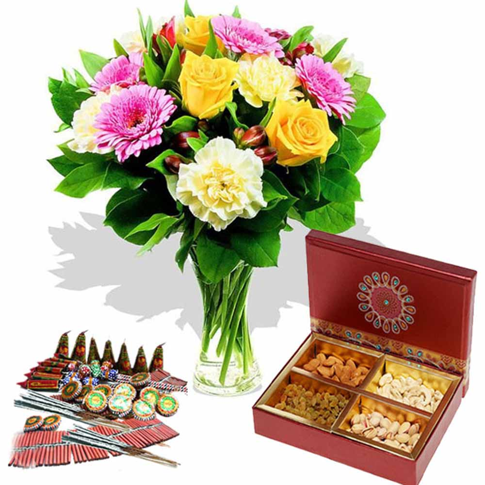 Diwali Hamper of Fire Cracker with Dry fruits and Fresh Flowers