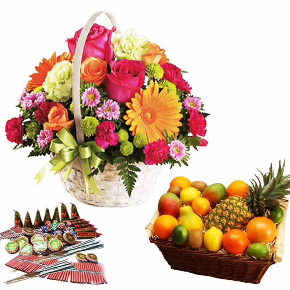 Diwali Dhamaka Cracker with Flowers and Fruits